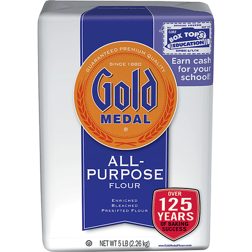 GOLD MEDAL ALL PURPOSE FLOUR, ENRICHED, BLEACHED, PRESIFTED 5LB