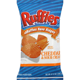 RUFFLES FLAVORED POTATO CHIPS, CHEDDAR & SOUR CREAM 6.5OZ